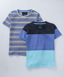 Lazy Shark Combo Of 2 Striped Half Sleeves T-Shirt  - Blue