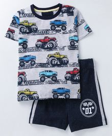 Lazy Shark Vehicle Printed Half Sleeves T-Shirt & Shorts Set  - Grey & Blue