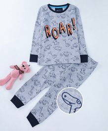 Lazy Shark Full Sleeves Dinosaur Print Night Suit - Grey
