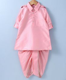 Kidsdew Solid Full Sleeves Kurta & Dhoti Set - Pink