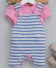 Babyhug Dungaree With Half Sleeves Tee  and Stripe Pattern - Pink & Blue