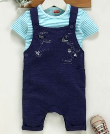 Babyhug Dungaree With Half Sleeves Tee and Embroidered Print - Blue