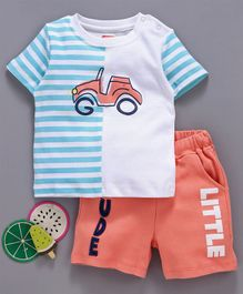 Babyhug Half Sleeves Cotton Knitted Tee & Shorts Car Print - Blue Orange