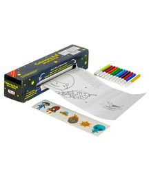 CocoMoco Kids Solar System Colouring Roll Story Book With Crayons - Black