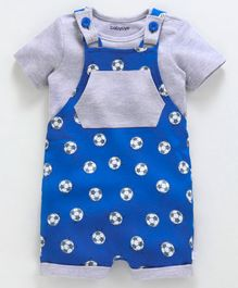 Babyoye Cotton Dungaree Style Romper With Tee Football Print - Grey Blue