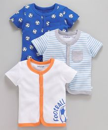 Babyoye Half Sleeves Striped & Football Printed Cotton Vests Pack of 3 - Blue White