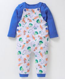 Babyoye Cotton Dungaree With Inner Full Sleeves Tee Vegetable Print - Blue Grey