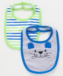 Babyoye Cotton Bibs Pack of 2 - Grey Green White