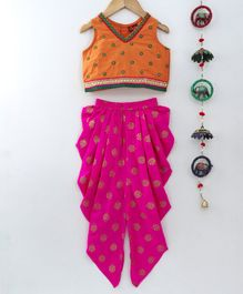 Twisha Flower Embroidery Sleeveless Top With Dhoti - Pink