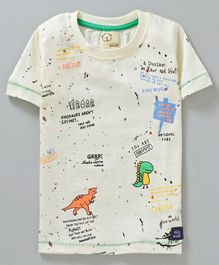 Olio Kids Half Sleeves Tee Dino Print - Cream