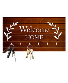 Studio Shubham Wooden Key Holder Welcome Home Print - Brown
