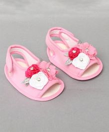 Daizy Flower Applique Booties - Light Pink