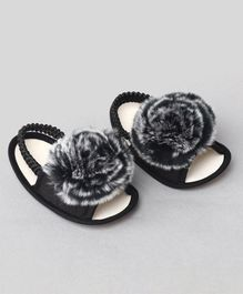 Daizy Flower Design Booties - Black