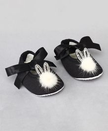 Daizy Bunny Applique Booties - Black