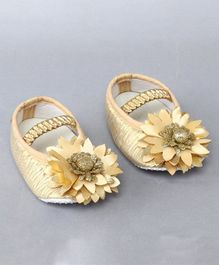Daizy Booties Flower Applique Booties - Golden