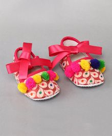 Daizy Pom Pom Applique Booties - Multicolor