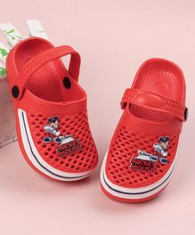 Mickey Clogs With Back Strap Character Patch - Red