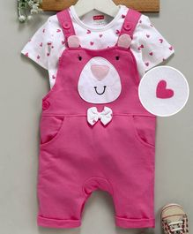 Babyhug Dungaree With Half Sleeves Tee Teddy Applique - White & Pink