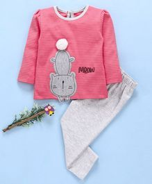 Babyhug Full Sleeves Tee and Lounge Pants With Kitty Print - Pink & Grey