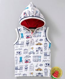 Olio Kids Sleeveless Hooded Tee Building Print - White