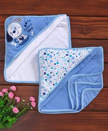Owen Knitted Hooded Towel Puppy Print Blue and White - Pack Of 2