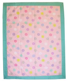 Kadam Baby Rectangular Play Mat Polka Dotl Print - Light Pink