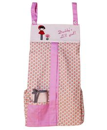 Kadam Baby Daddy's li'l Girl Print Diaper Stacker - Pink White