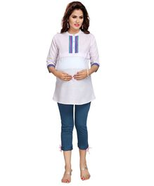 Mama & Bebe Three Fourth Sleeves Embroidered Kurti - Light Purple