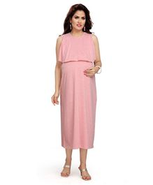 Mama & Bebe Solid Sleeveless Maternity Dress - Pink