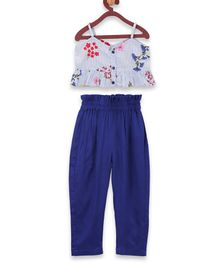 Lilpicks Couture Sleeveless Floral Crop Top & Pant Set - Blue