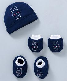 0e664f53687 Simply Cap Mitten   Booties Set Bunny Print - Navy Blue