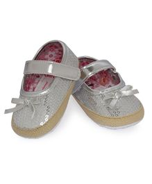 Morisons Baby Dreams Belly Shoes With Bow Applique - Silver