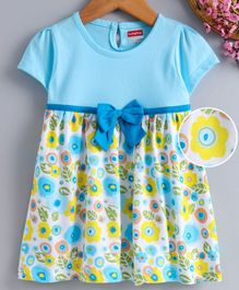 Babyhug Short Sleeves Floral Frock Bow Applique - Blue