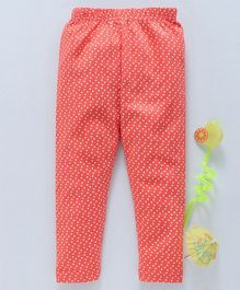 Babyhug Full Length Leggings Dot Print - Coral