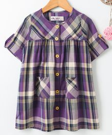 Soul Fairy Checkered Full Sleeves Dress - Purple