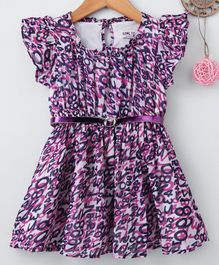 Soul Fairy Numbers Printed Short Sleeves Dress & Belt - Purple