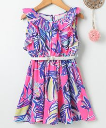 Soul Fairy Tropical Print Sleeveless Dress & Belt - Pink