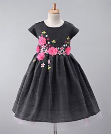 A Little Fable Flowers Applique Cap Sleeves Dress - Grey