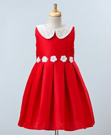 A Little Fable Lace Collar Flower Applique At Waistline Sleeveless Dress - Red