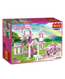 Cogo Princess Castle Palace Building Block Set Pink - 510 Pieces
