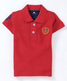 Olio Kids Half Sleeves Solid Polo Neck Tee - Red