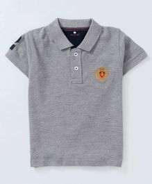 Olio Kids Half Sleeves Solid Polo Neck Tee - Grey
