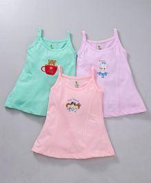0e8d3c2107617d Cucumber Singlet Cotton Slips Bear Print Pack of 3 - Purple Peach Green