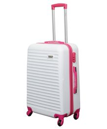 T-Bags ABS Luggage Trolley Bag White Pink - 24 Inches