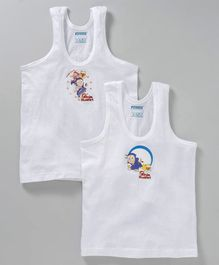 Mustang Sleeveless Ninja Hattori Print Pack Of 2 Vests - White