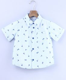 Beebay Palm Tree Printed Half Sleeves Shirt - Blue