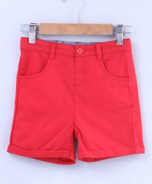Beebay Solid Shorts With Front Pockets - Peach