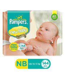 Pampers Active Baby New Born Size Diapers Monthly Pack - 144 Pieces
