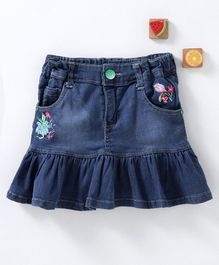 Olio Kids Denim Skirt Floral Embroidery - Blue