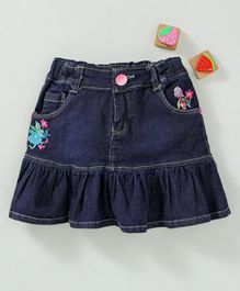 Olio Kids Denim Skirt Floral Embroidery - Dark Blue